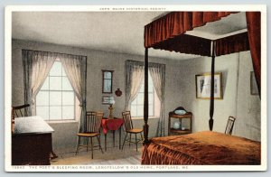 Portland Maine~Henry Wadsworth Longfellow Home~Sleeping Room~1910 Detroit Pub Co