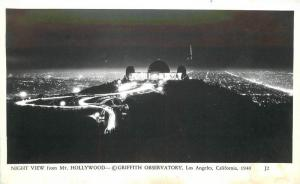 Griffith Observatory Night 1940s Los Angeles California RPPC real photo 7214