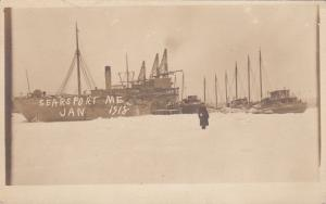 RP, Sailboats/Steamer On The Snow, SEARSPORT,  Maine, January 1918