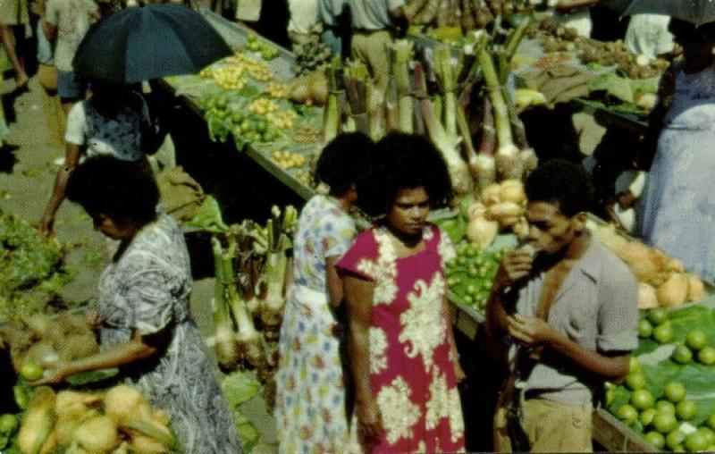 fiji islands, Market Scene, Vendors of Fruits & Vegetables (1960s) Curteich 1015