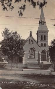 Carpentersville IL~Congregational Church~Picket Fence~Carriage Block~1907 RPPC