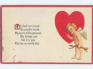 Pre-Linen valentine CUPID STANDING BESIDE LARGE HEART HJ2378