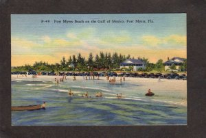 FL Ft Fort Myers Beach Gulf Mexico Florida Linen Postcard