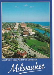 Wisconsin Milwaukee Lake Front Looking North From Downtown Aerial View