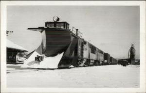 Pennsylvania RR Train Snow Plow Diesel 501&600 Real Photo Postcard