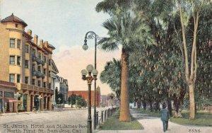 St. James Hotel & St. James Park, San Jose, California, early postcard, unused