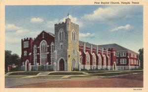 F14/ Temple Texas Postcard Linen First Baptist Church