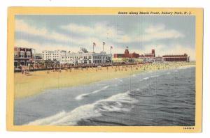 Asbury Park NJ Beach Front Scene Vintage Linen Postcard 1948