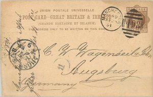 Entier Postal Stationery Postal Great Britain Great Britain 1891 Manchester t...