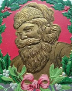 Vintage Santa Claus Christmas Postcard P Sander Gold Faced Saint Nick Embossed