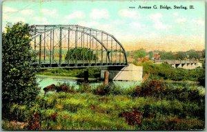 Sterling, Illinois Postcard Avenue G Bridge Rock River View c1910s w/ Cancel