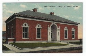 Bar Harbor, Maine,  Vintage Postcard View of Jesup Memorial Library