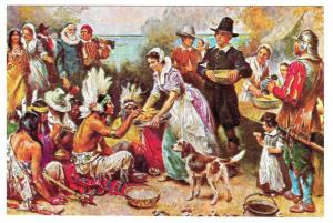 First Thanksgiving JLG Ferris Painting Vintage Postcard