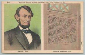 Hodgenville Kentucky~Abraham Lincoln National Historical Park~Vintage Postcard