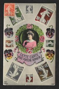 FRANCE Stamps on Postcard 'Will bring you luck' Used c1910s