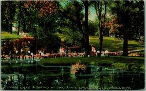 1910s OHIO STATE UNIVERSITY Postcard Mirror Lake & Spring Columbus OH Unused