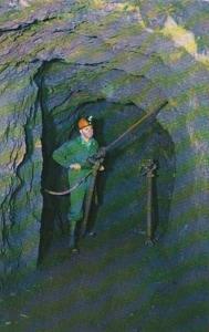 Michigan Iron Mountain Iron Mine MIner Using Horizontal Air Drill