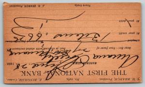 Marengo Iowa~1st Nat'l Bank Postal Receipt~Bingham-Branch~To Amana Society 1890