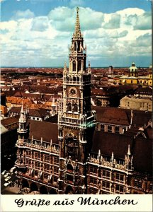 Postcard Munich City Hall Germany Aerial View Posted