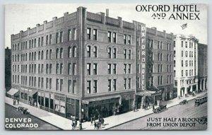 Denver CO~Oxford Hotel & Annex~Drug Store~3 Cafes~Dairy Lunch Room~Trolley~c1915