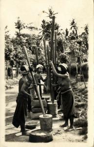 indonesia, BALI, Native Nude Women pounding Rice (1930s) RPPC