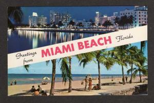 FL Greetings from MIAMI BEACH FLORIDA Postcard PC