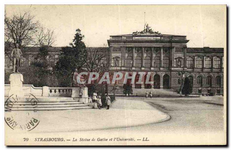 Old Postcard Strasbourg Statue of Goethe University and Children