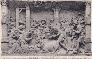 Bas Relief St Nicolas Eglise Troy Battle A Troyes Mural Antique Postcard