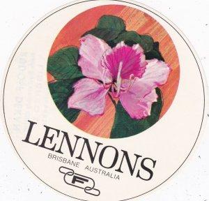Australia Brisbane Lennons Hotel Vintage Luggage Label sk3769