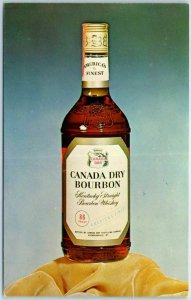 Vintage CANADA DRY BOURBON Whiskey Advertising Postcard Chrome c1960s Unused