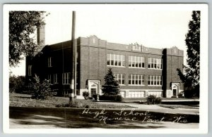 Mineral Point Wisconsin~Entrances on Both Ends of High School RPPC 1950 Postcard