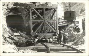 Mining Cage Car Going into Tunnel c1920s-30s Real Photo Postcard