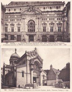 Tours Basilique Saint Martin Theatre Municipal 2x Old French Postcard s