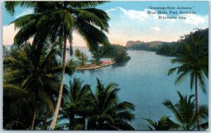 Port Antonio, Jamaica B.W.I. Postcard BLUE HOLE Bird's-Eye View c1910s Unused