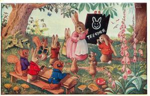 Medici Postcard Pk 252 Who Drew That A/S Racey Helps Dressed Animal Kids Teacher