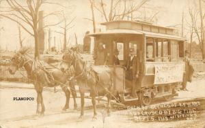 HOT SPRINGS, ARKANSAS MULE DRAWN TROLLEY-EARLY 1900'S RPPC REAL PHOTO POSTCARD