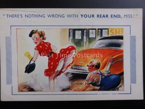 Bamforth Comic Postcard CAR - THERE'S NOTHING WRONG WITH YOUR REAR END, MISS....