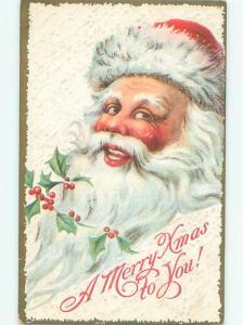 Pre-Linen Christmas LARGE BEAUTIFUL SANTA CLAUS FACE AB4682