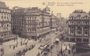 Place De La Bourse Et Boulevard Anspach, Bruxelles, Belgium, 1900-1910s