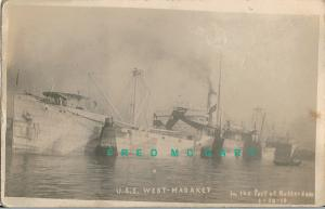 1919 Rotterdam Netherlands RPPC: USS West-Madaket in Port, One of 2 Trips in ...