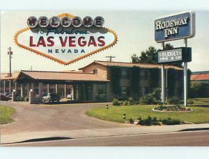 Unused 1980's OLD CARS & RODEWAY INN MOTEL Las Vegas Nevada NV u1736-23