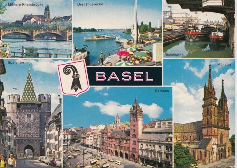 Switzerland, Suisse, BASEL, multi view, unused Postcard