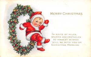 Christmas~Nimble Nick Mini Santa Jumps Thru Holly Berry Hoop Wreath~Whitney Made