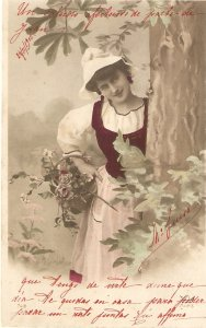Peasant lady with basket of flowers Nice old vintage French postcard