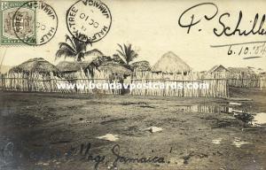 jamaica, B.W.I., Native Village (1904) P. Schiller RPPC, Half-Way-Tree Cancel