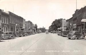 Chatfield MN~Main Street North~Marigold Cafe~Barber Shop~Woody~Cars~1948 RPPC