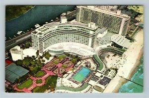 Miami Beach FL- Florida, Fontainebleu, Hotel, Aerial View Chrome Postcard
