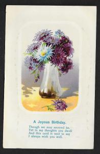 'Joyous Birthday ...' Vase of Mums Flowers Unused c1910s