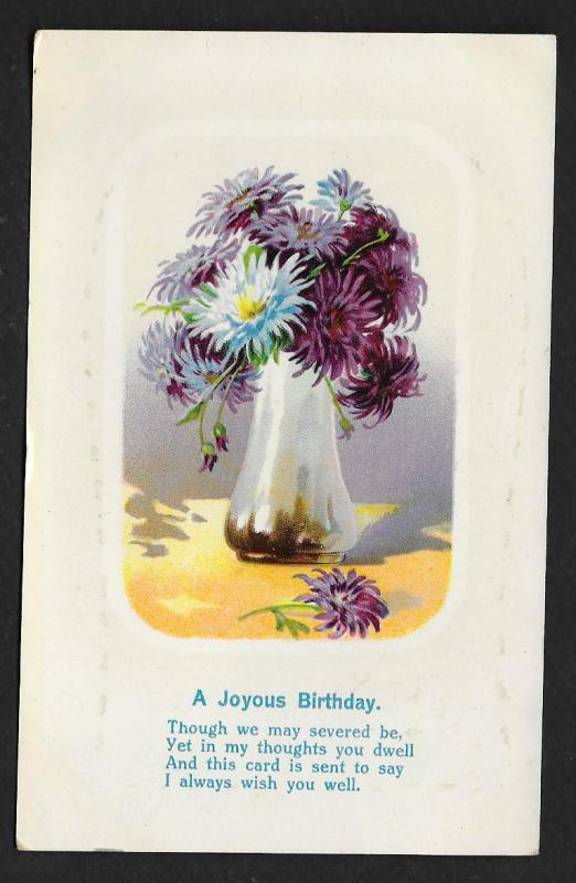 'Joyous Birthday ...' Vase of Mums Flowers Unused c1910s