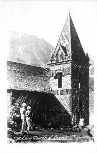 RPPC BENNETT YT Old Log Church & Couple Yukon Territory Photo Postcard ca 1940s